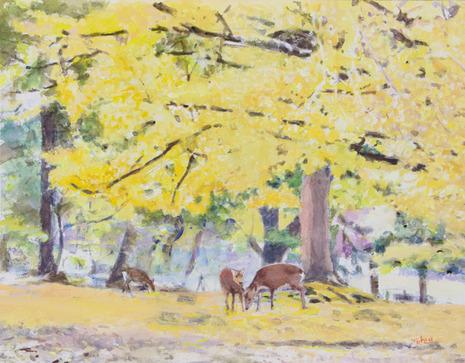 180102-20180102黄葉の奈良公園F6水彩800.jpg