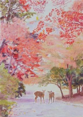 200102-20190909_紅葉の東大寺境内F4水彩完成作品一枚の繪へ_001.jpg